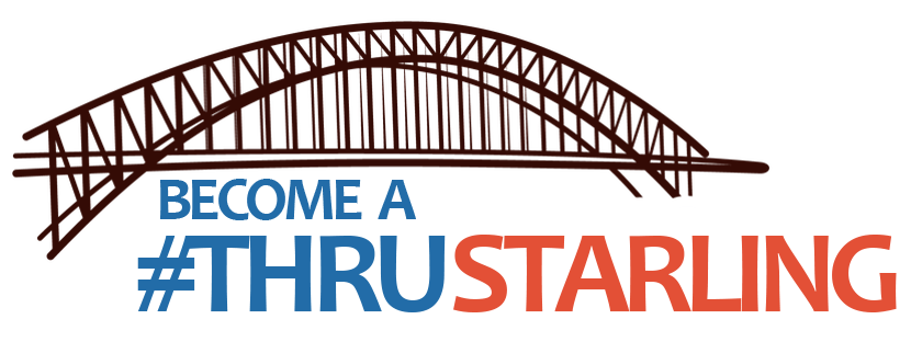 """A suspension bridge with the words underneath that say """"Become a #THRU Starling"""