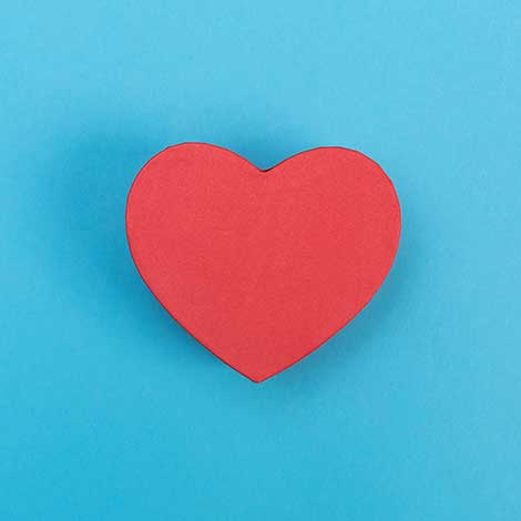 red heart on blue background