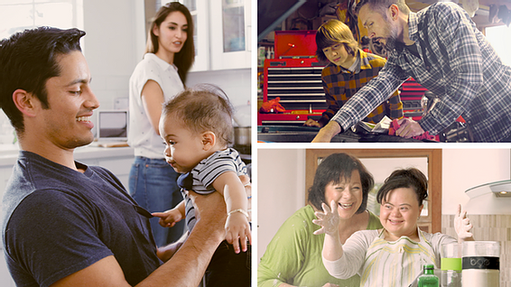 Various images of parents caring for their children