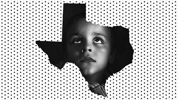 Outline of State of Texas with image of young child inside