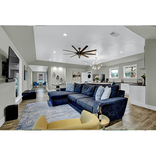 2-Night Getaway in Fredericksburg, TX Living Room & Dining Open Floor Plan