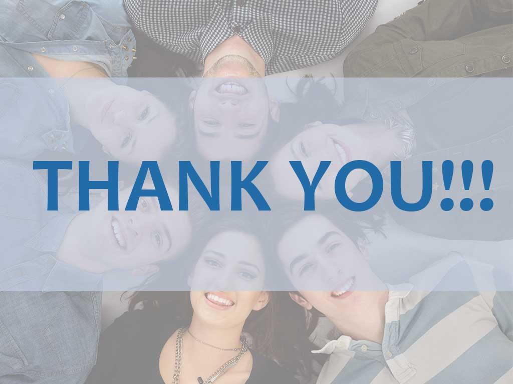 """Group of teens head-to-head smiling, words say """"THANK YOU"""""""
