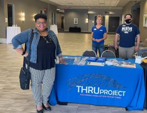 TDJ Consulting at THRU Works Career Day, Owner Tramelle Jones with THRU Project CEO Elaine Andries Hartle and Programs Manager, Chris Lopez