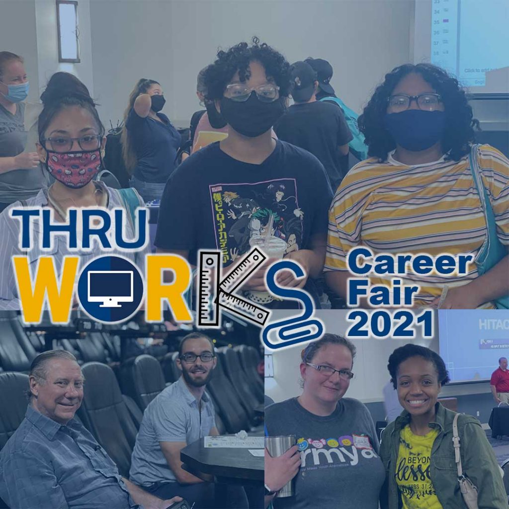 THRU Works Career Fair 2021 with images of former foster with their mentors and friends at the fair
